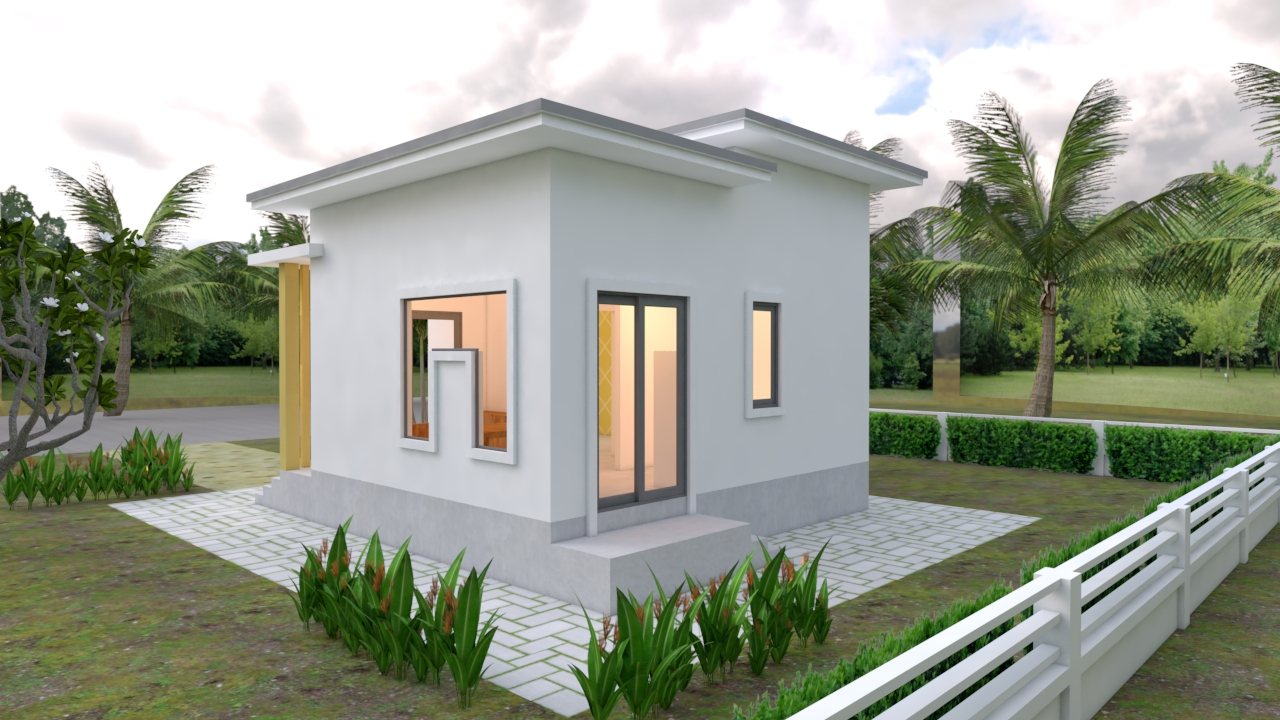 Small Modern House 6x6 Meter 20x20 Feet Flat Roof3