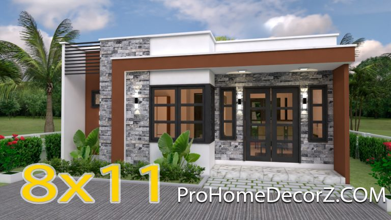 Small Villa Designs 8x11 Meter 26x36 Feet 3 Beds