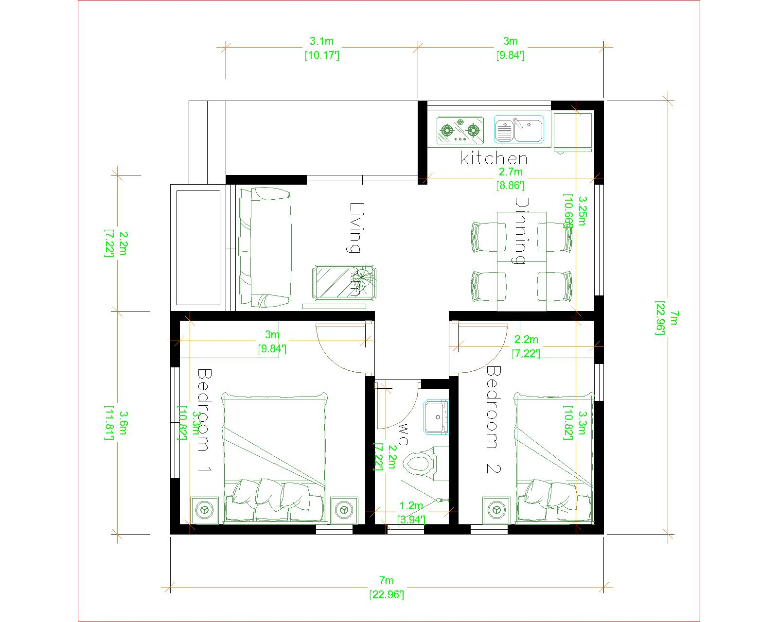 The Small Home 7x7 Meter 24x24 Feet 2 Beds layout plan