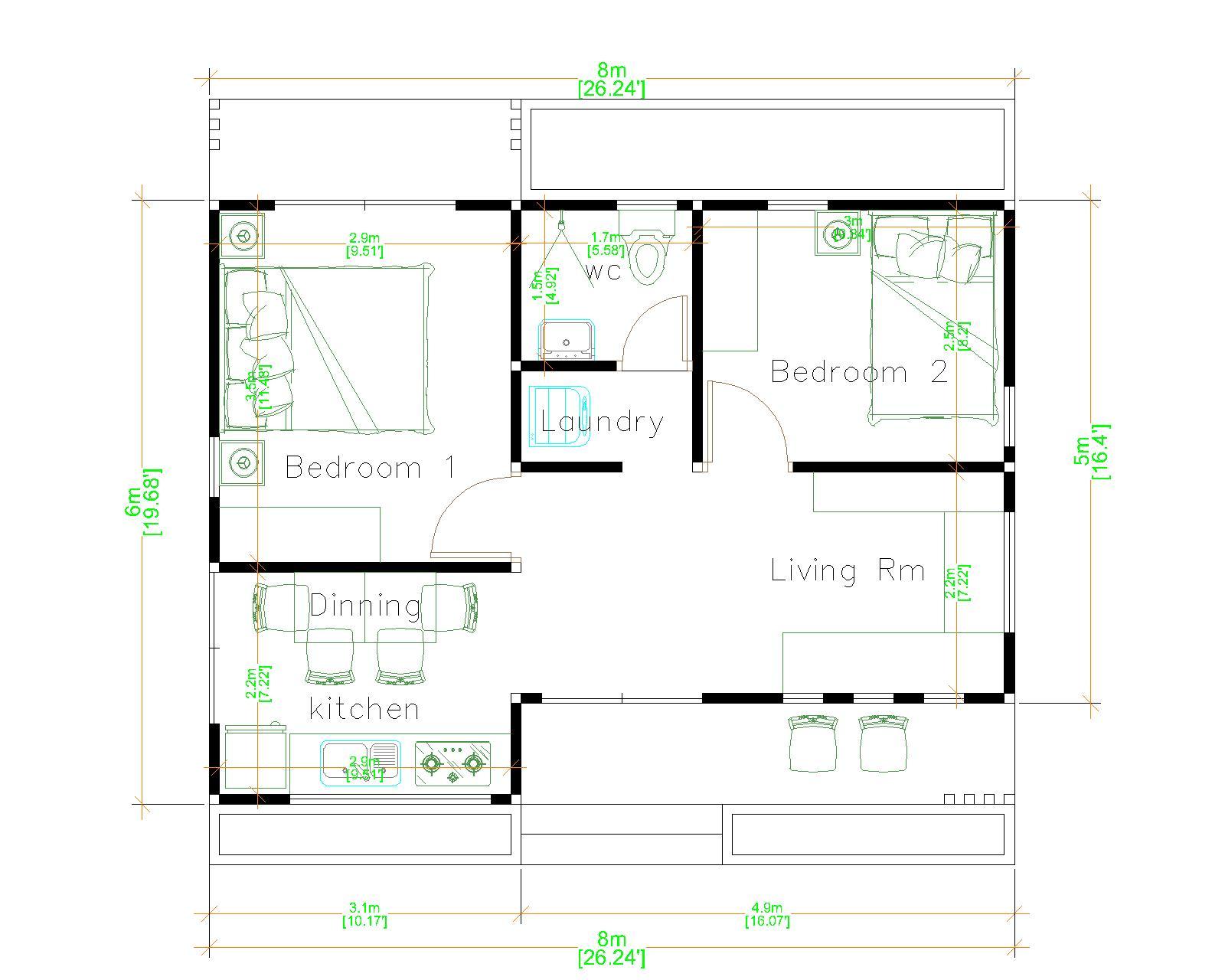 Tiny Home Layouts 8x6 Meter 26x20 Feet 2 Beds floor plan