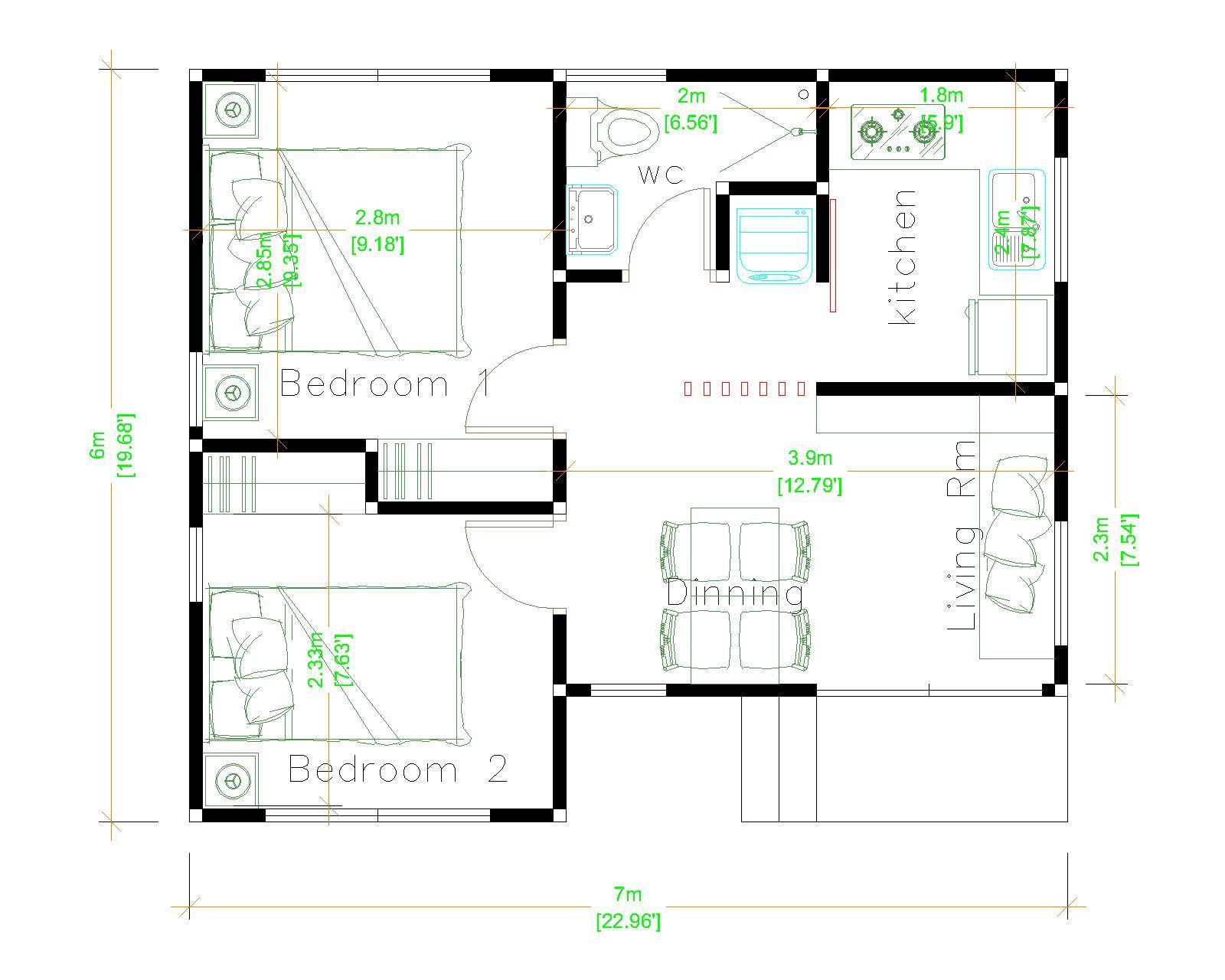 Tiny Home Living 7x6 Meter 23x20 Feet Layout plan