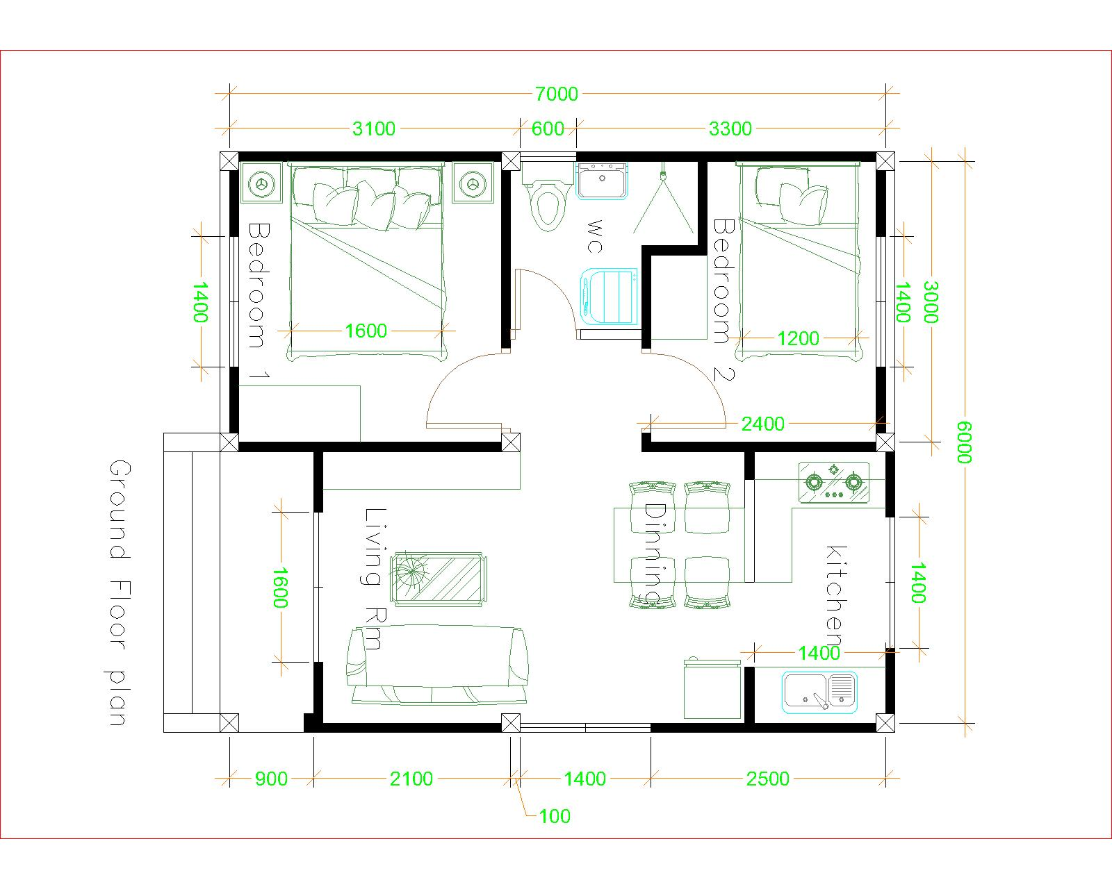 Tiny House Layout 6x7 Meter 20x23 Feet 2 Beds floor plan