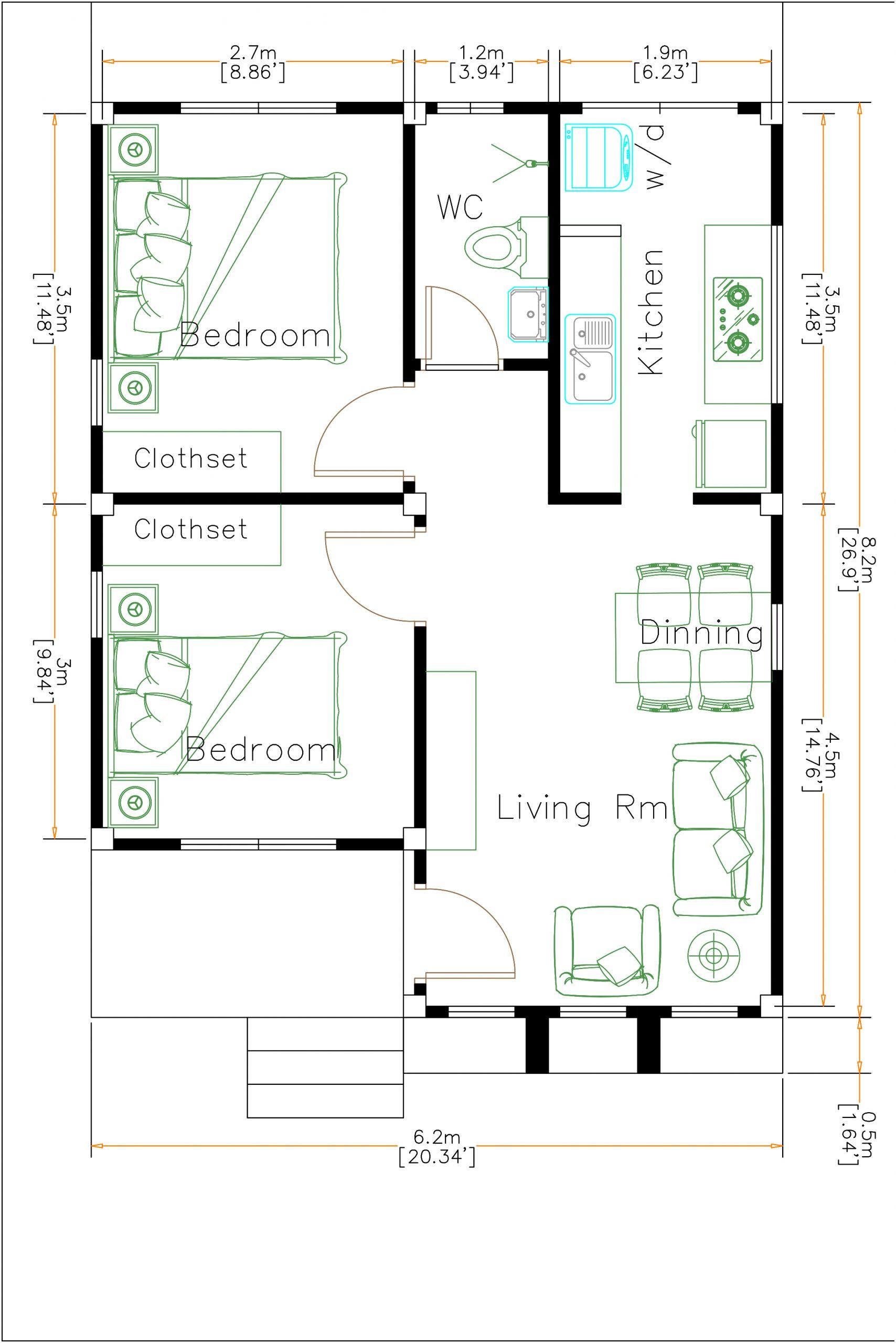 White House Floor Plan 6x8 Meter 20x27 Feet 2 Beds Layout Floor Plan