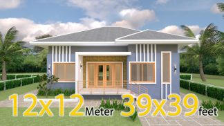 4 Bedroom House Plans 12x12 Meter 39x39 Feet