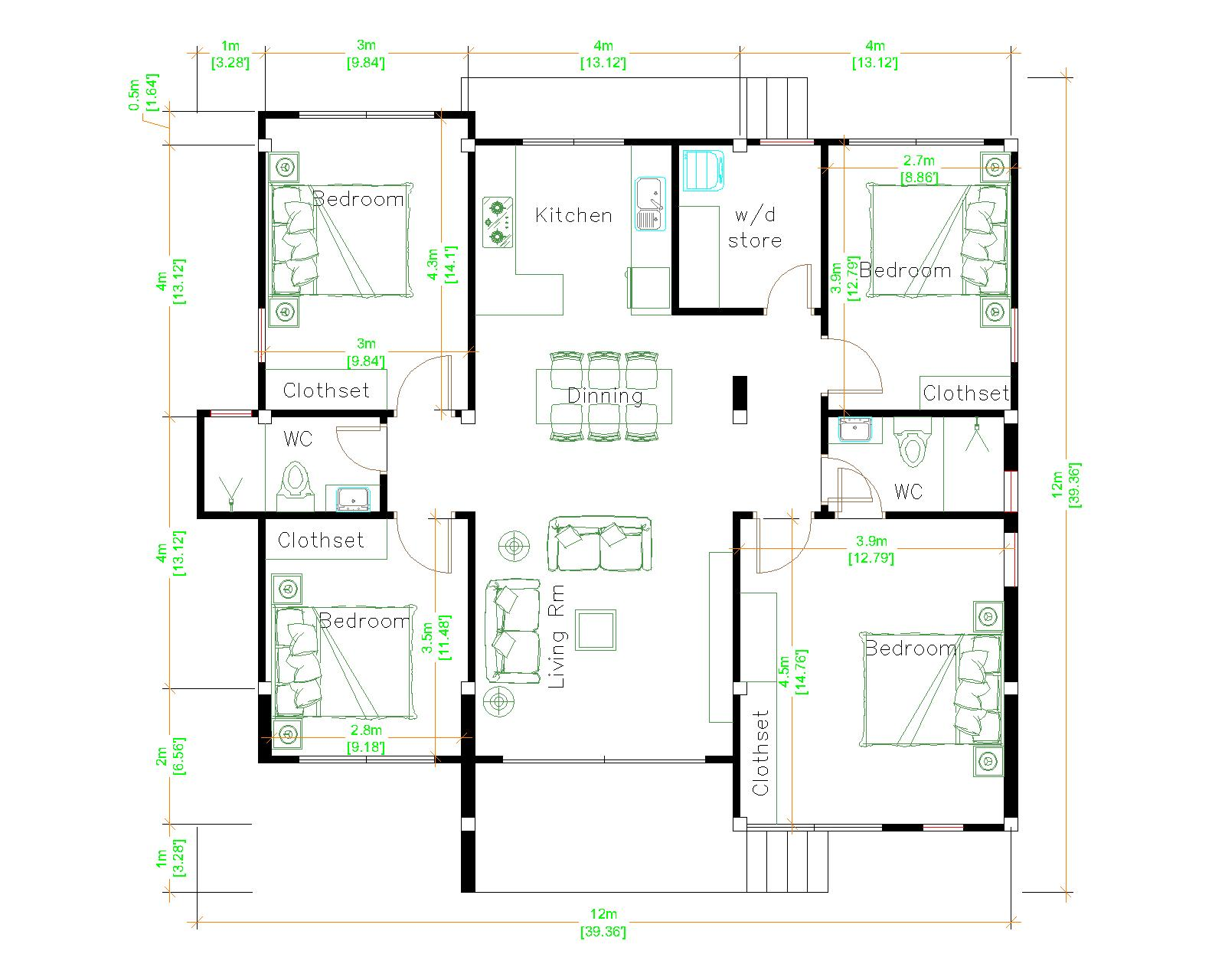 4 Bedroom House Plans 12x12 Meter 39x39 Feet floor plan