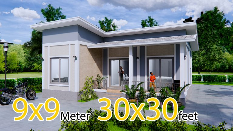 Best House Plans 9x9 Meters 30x30 Feet 2 Beds