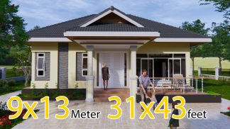 Bungalow House Plans 31x43 Feet 9x13.5 Meters 2 Beds