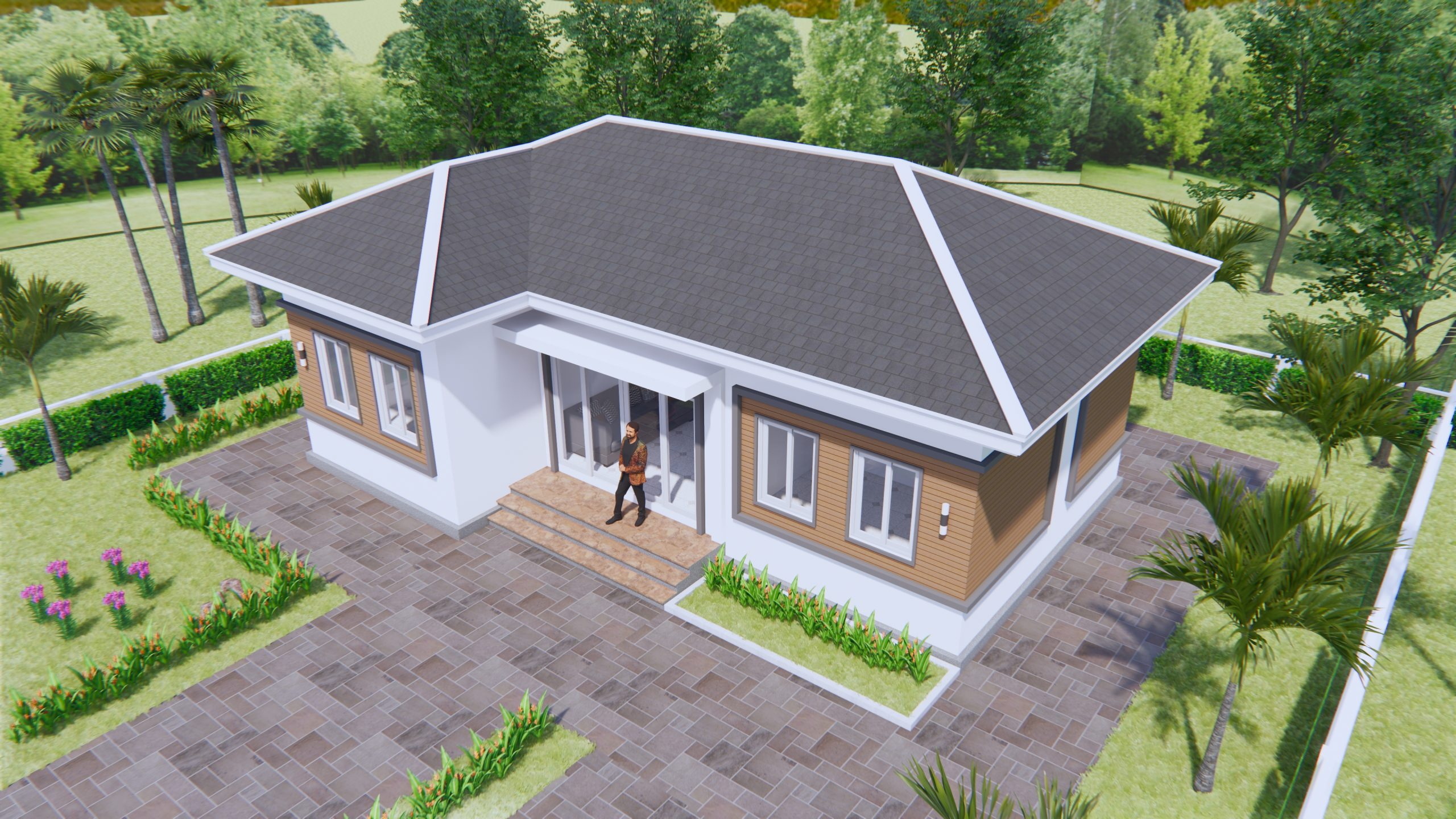 Contemporary House Plans 12x8 Meter 40x27 Feet 3 Beds 3