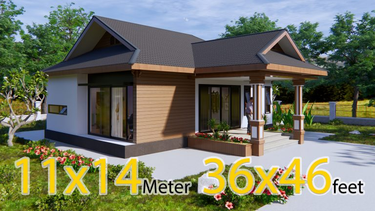 Cool Home Plans 11x14 Meters 36x46 Feet 3 Beds