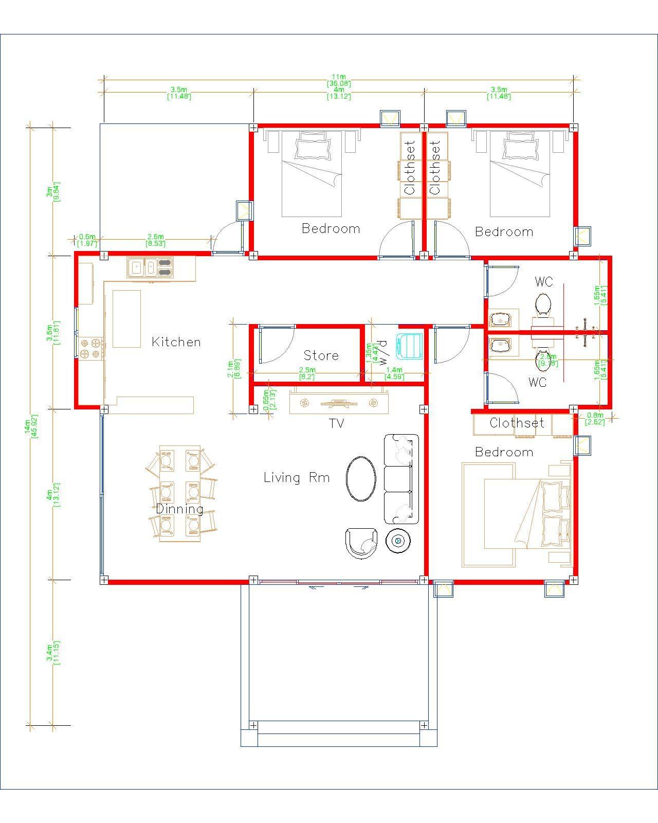 Cool Home Plans 11x14 Meters 36x46 Feet 3 Beds Layout floor plan