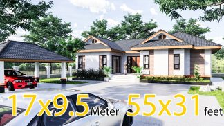 Cool House Plans 16.7x9.5 Meter 55x31 Feet 3 Beds