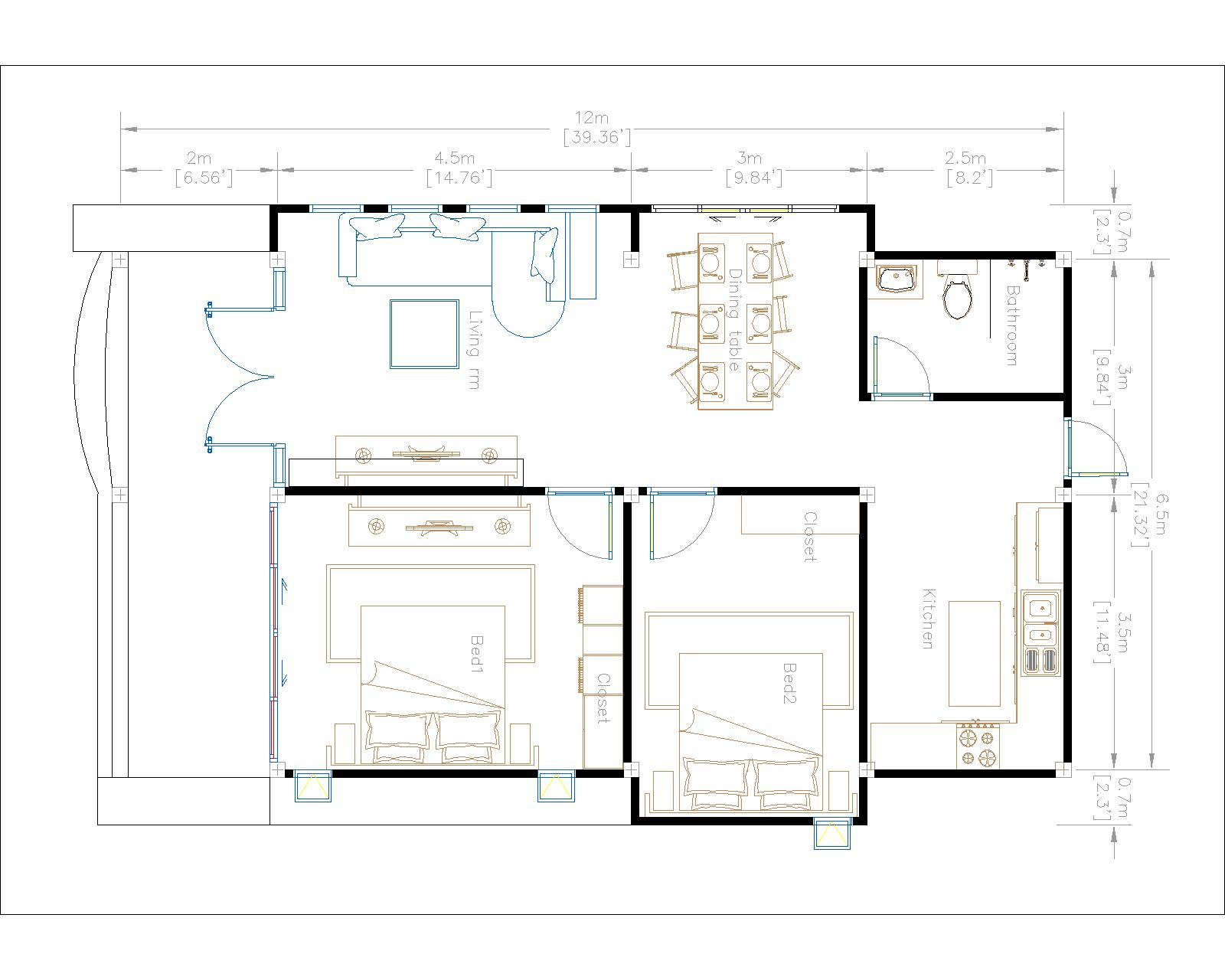 Cottage House Plans 8x12 Meter 26x40 Feet 2 Beds House layout floor plan