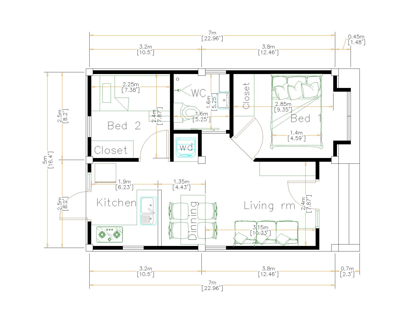 Design My House 5x7 Meters 16x23 Feet floor plan