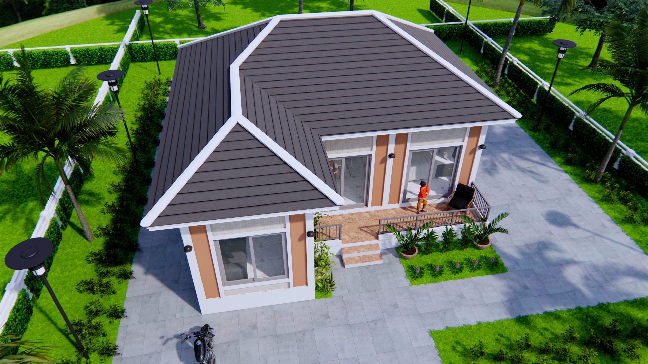 Exterior Home Design 9x9 Meters 30x30 Feet 2 Beds 2