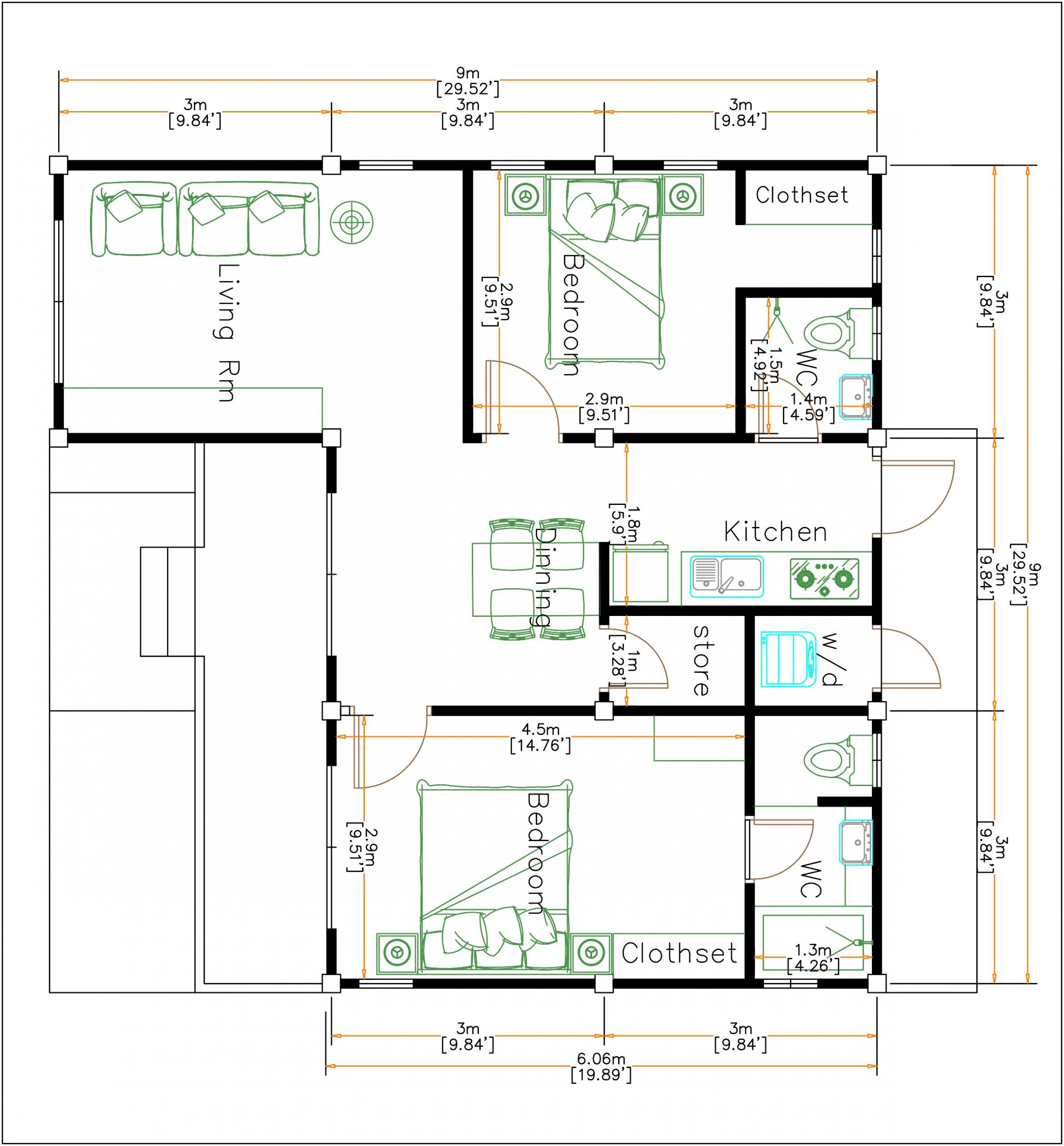 Exterior Home Design 9x9 Meters 30x30 Feet 2 Beds House layout floor plan