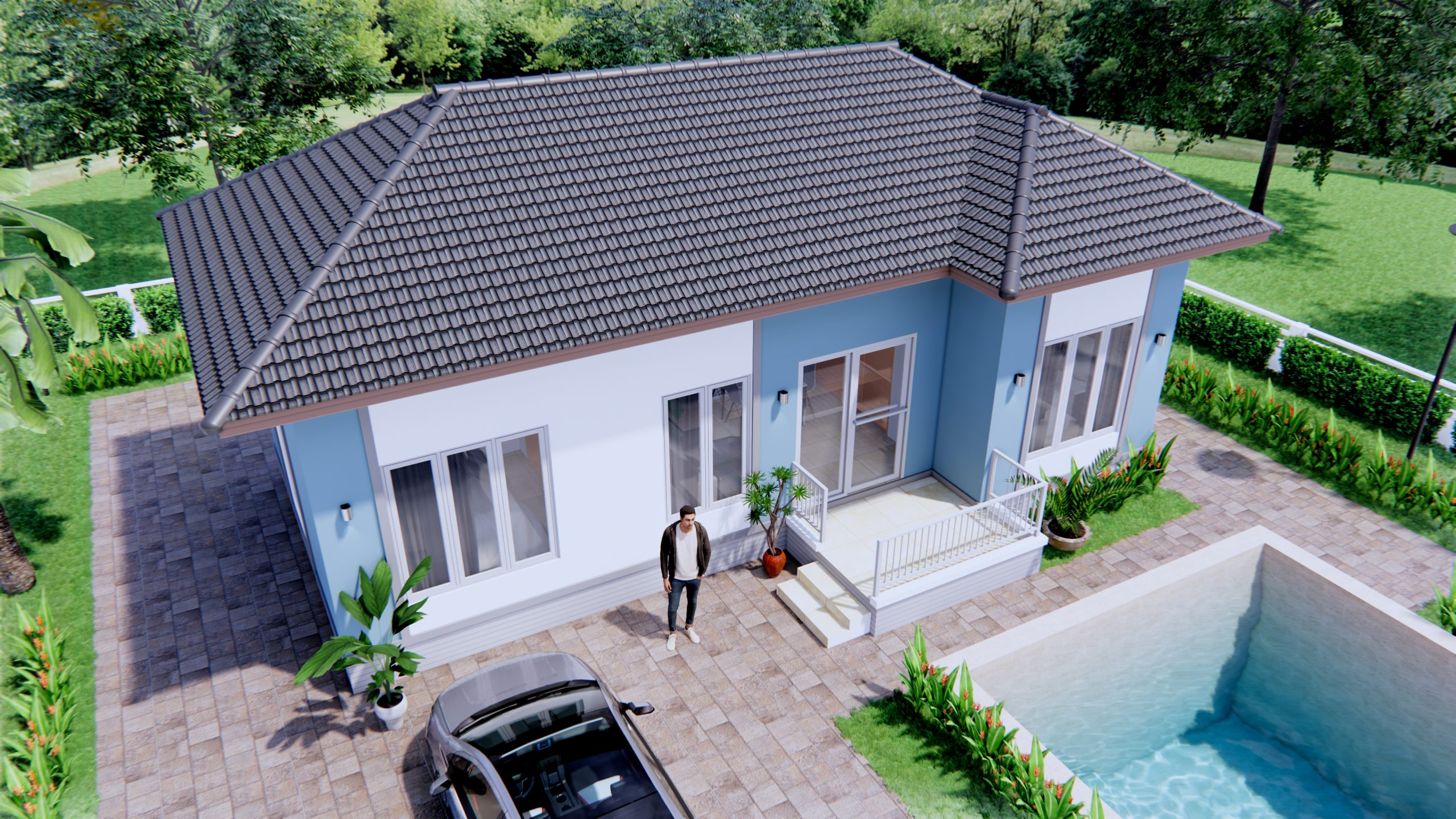 Floor Plan Design 11x6 Meters 36x20 Feet 3 Beds 2