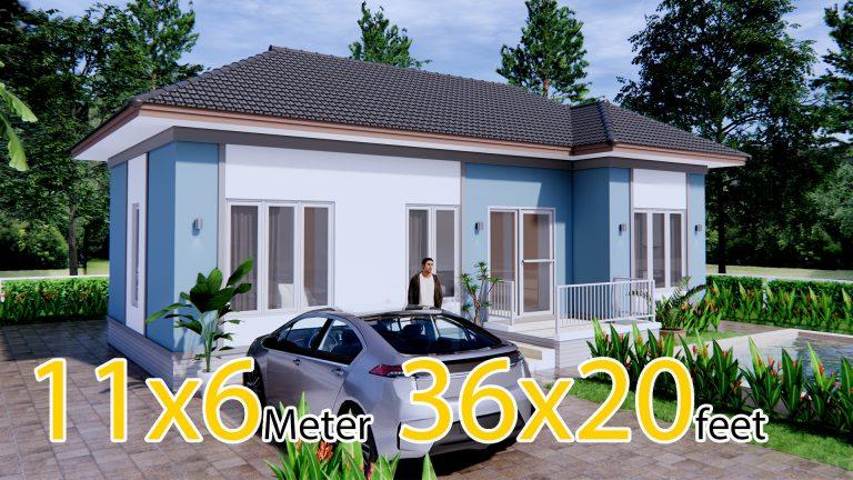 Floor Plan Design 11x6 Meters 36x20 Feet 3 Beds