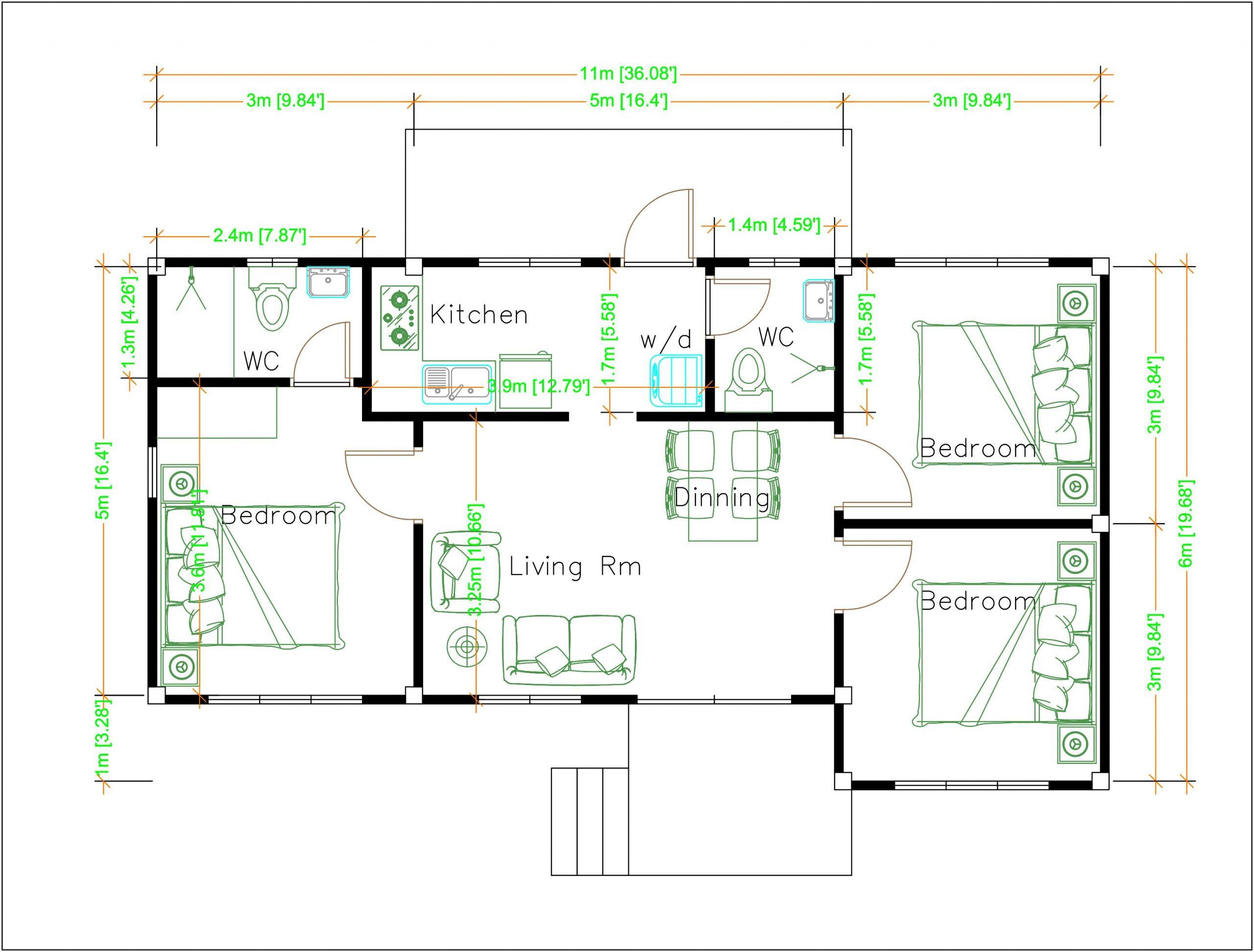 Floor Plan Design 11x6 Meters 36x20 Feet 3 Beds Layout floor plan