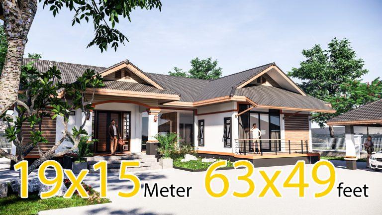 Home Design Plans 19x15 Meter 63x49 Feet 3 Beds