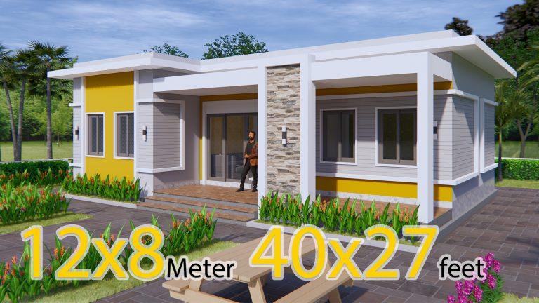 Home Layout Design 12x8 Meter 40x27 Feet 3 Beds