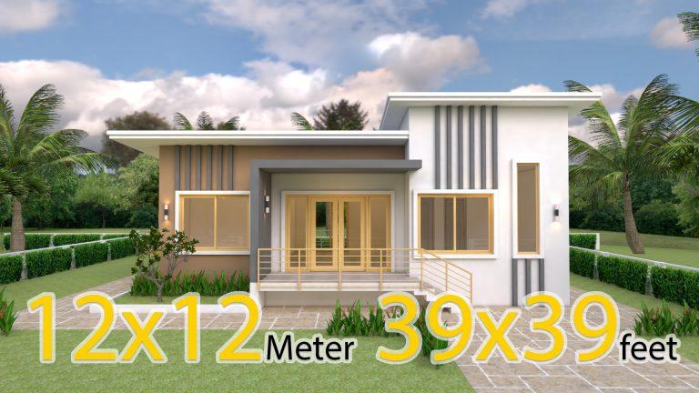 Modern House Design 12x12 Meter 39x39 Feet 4 Beds