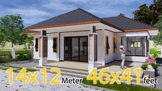 Modern Mansion Floor Plans 14x12.5 Meter 46x41 Feet 3 Beds
