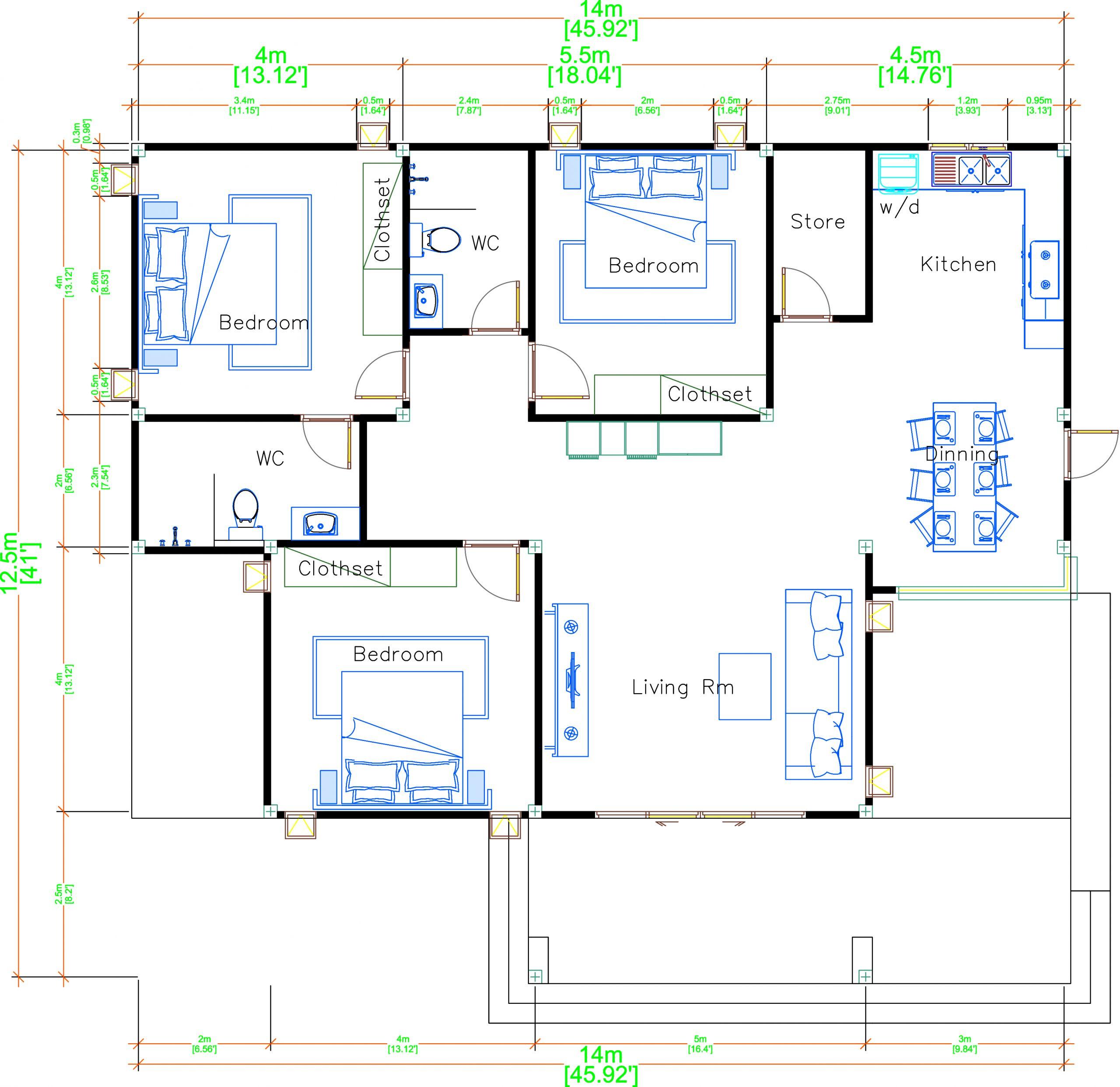 Modern Mansion Floor Plans 14x12.5 Meter 46x41 Feet 3 Beds layout floor plan