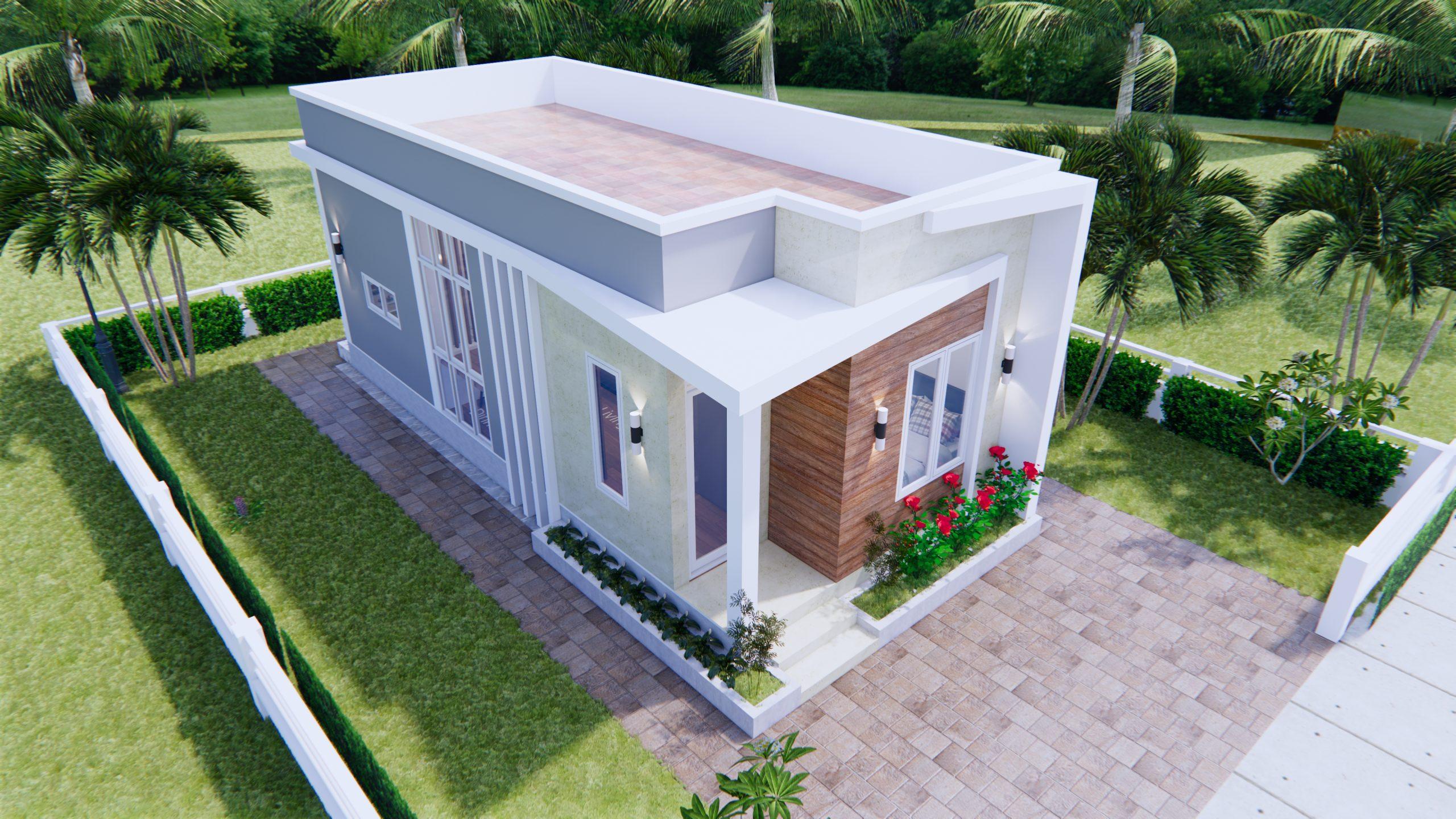 Modern Small House Design 44x9 Meter 13x30 Feet 4