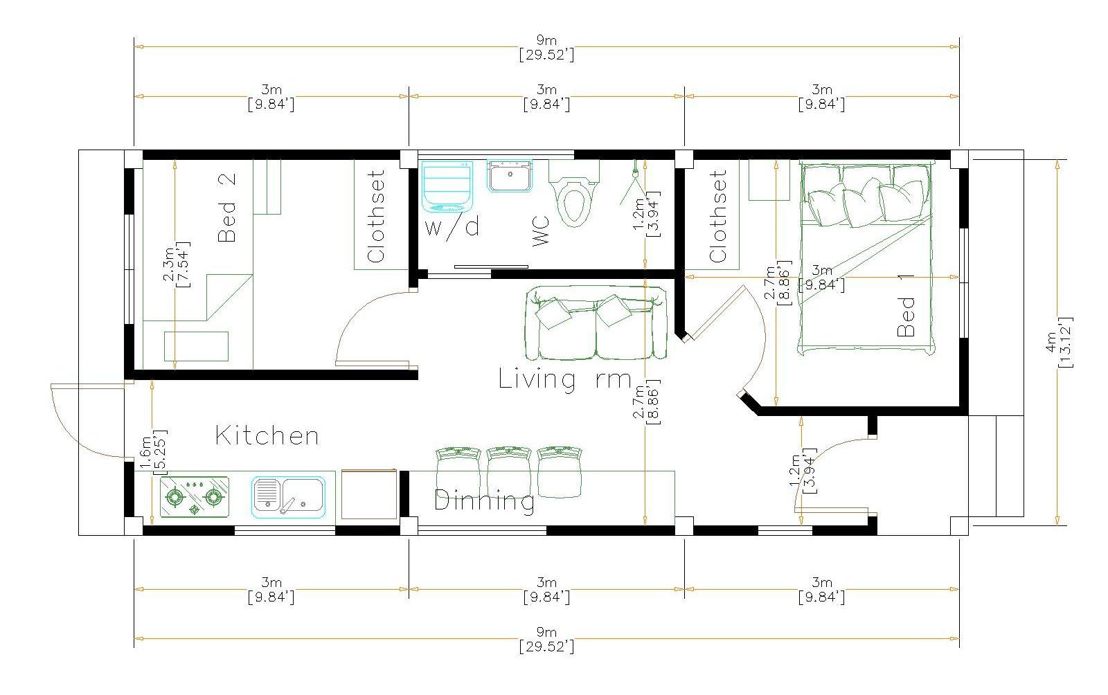 New Home Plans 4x9 Meter 13x30 Feet floor plan