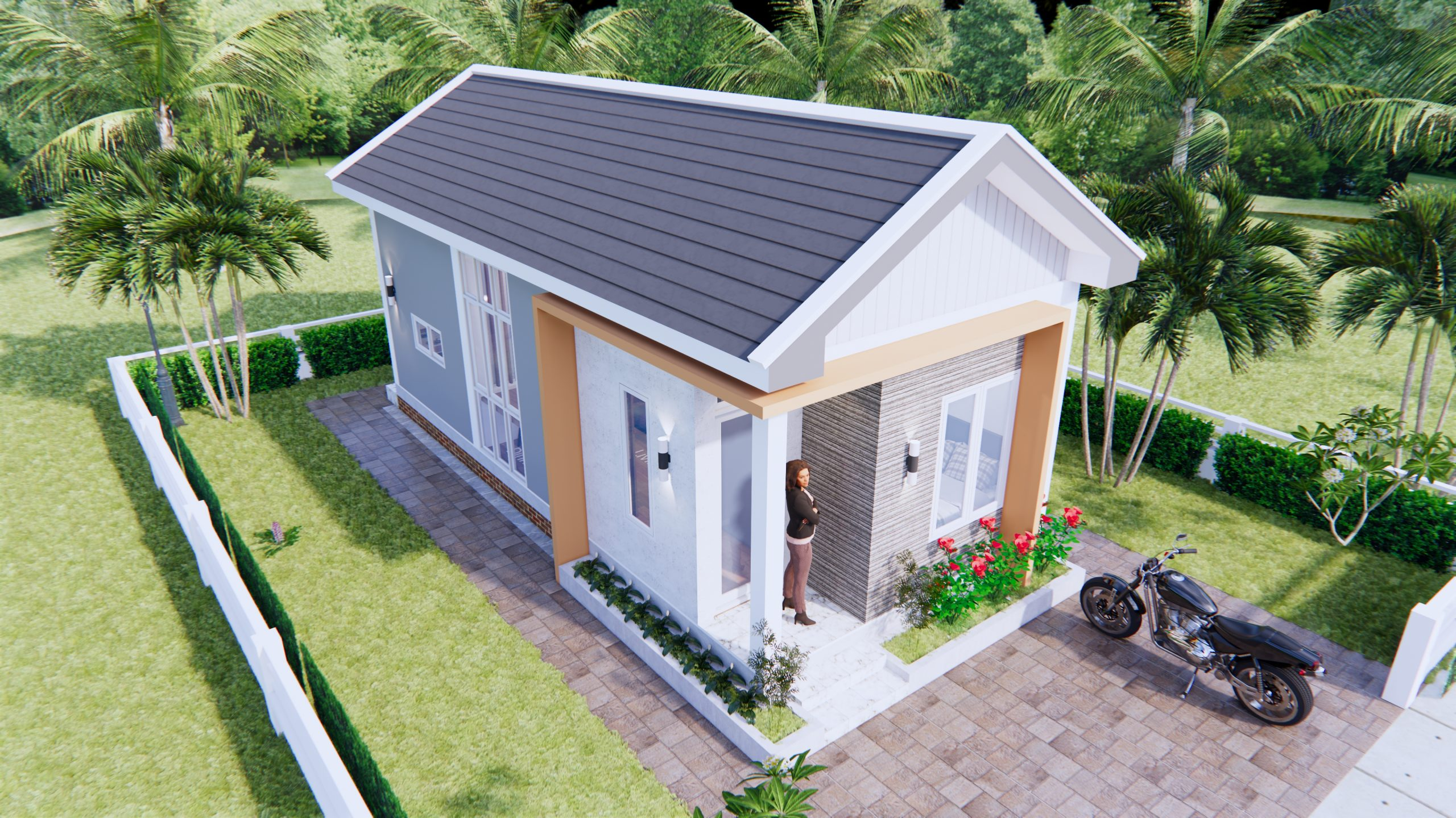 One Floor House Plans 4x9 Meter 13x30 Feet 2