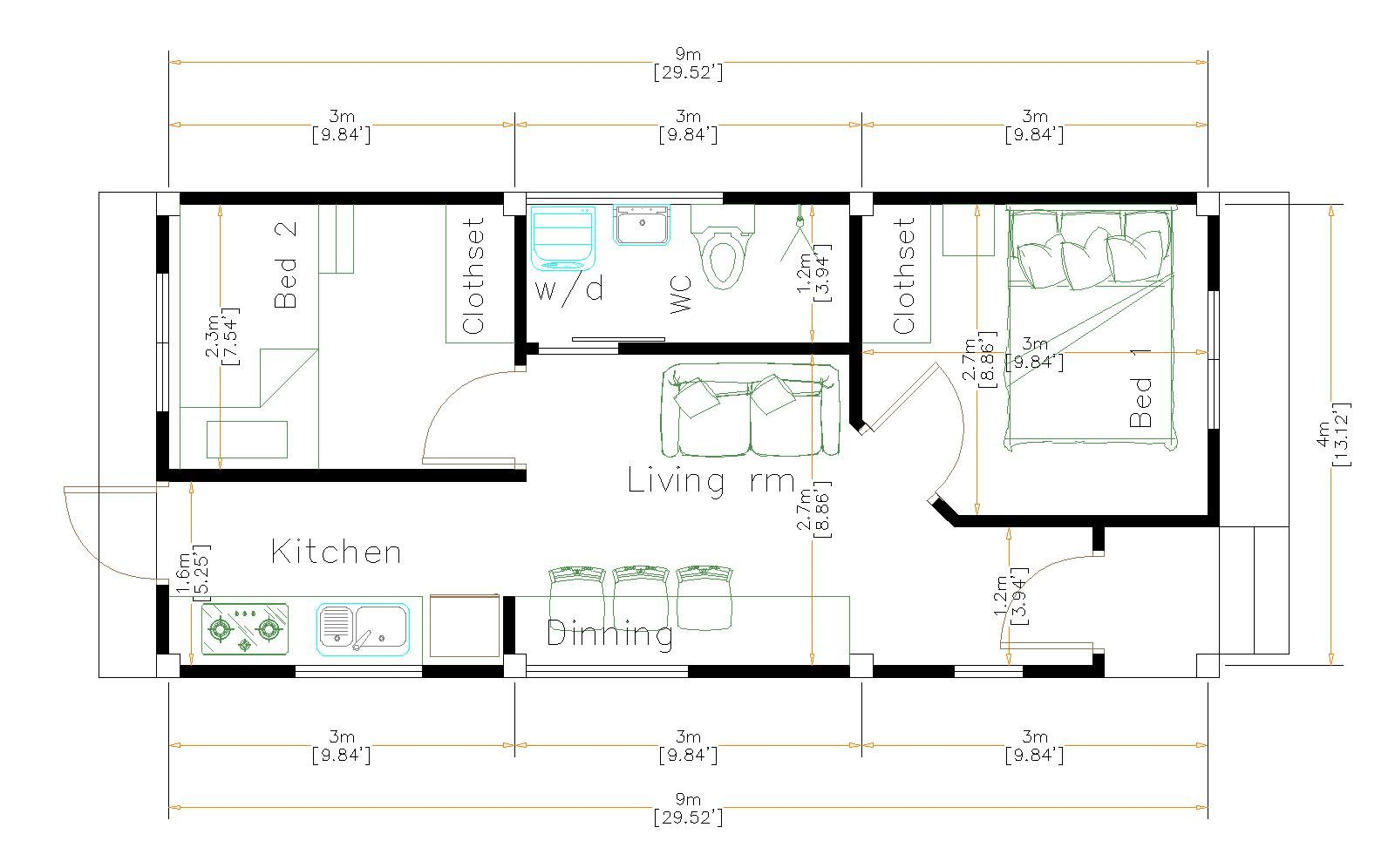 One Floor House Plans 4x9 Meter 13x30 Feet floor plan