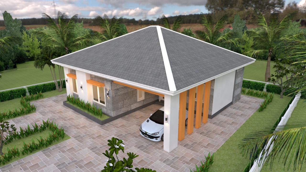 One Storey House Design 12x11 Meter 39x36 Feet 3 Beds 3