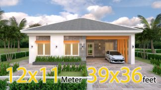 One Storey House Design 12x11 Meter 39x36 Feet 3 Beds