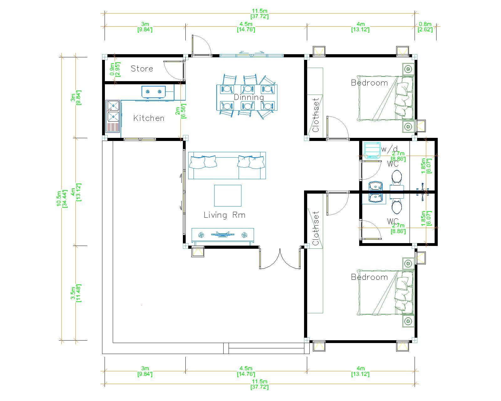 One Story Modern House 11.5x10.5 Meter 38x35 Feet 2 Beds layout floor plan