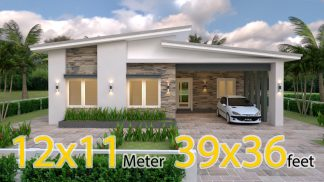 Single Floor House Plans 12x11 Meter 39x36 Feet 3 Beds