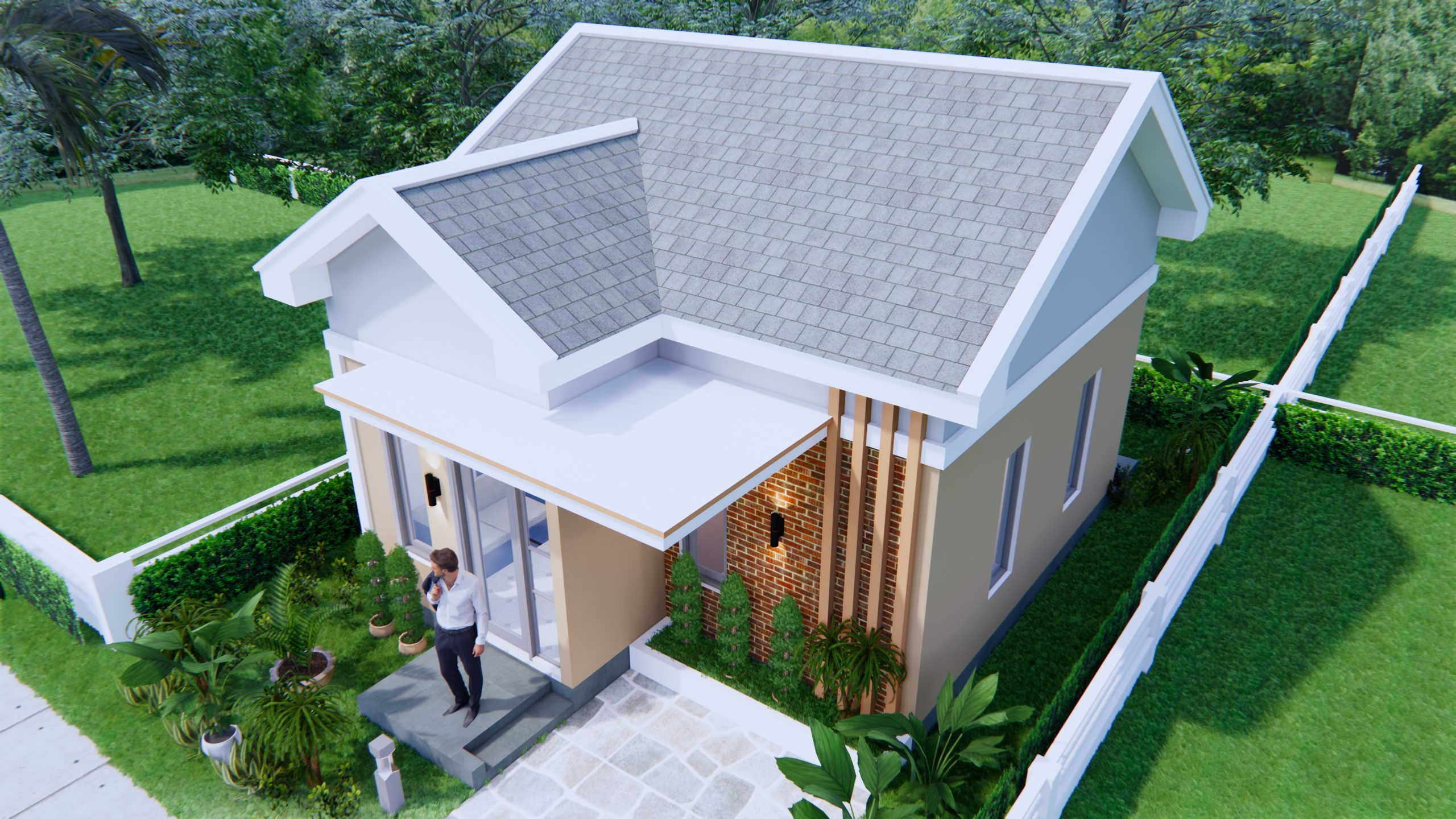 Small Brick Houses 6x7 Meter 20x23 Feet 2 Bed 1