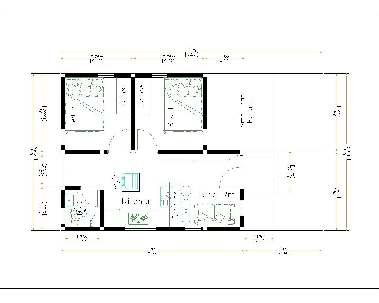 Small Budget Home 6x7Meter 20x23Feet 2 Beds layout floor plan