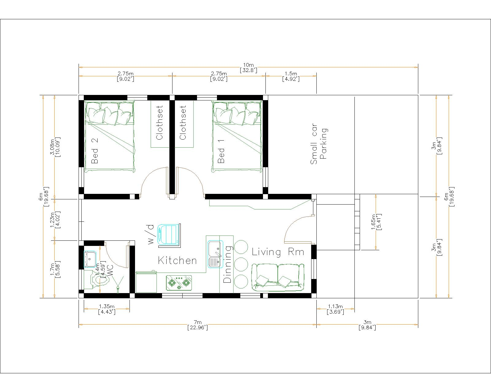 Small Cozy Homes 6x7 Meter 20x23 Feet 2 Bed layout floor plan
