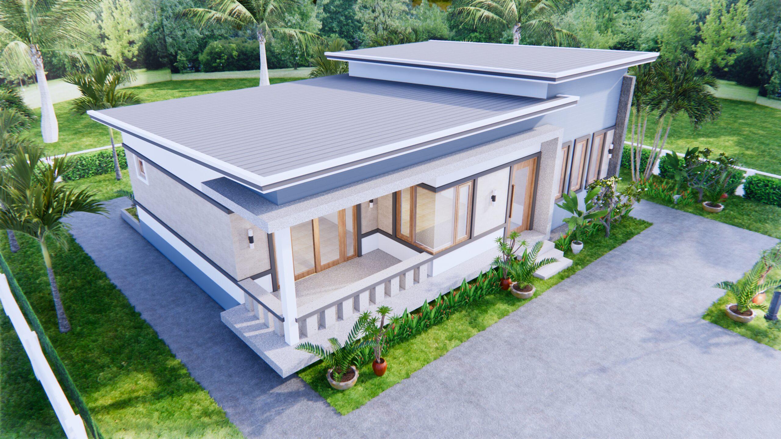 1 Story Modern House 12x12 Meters 40x40 Feet 3 Beds 3