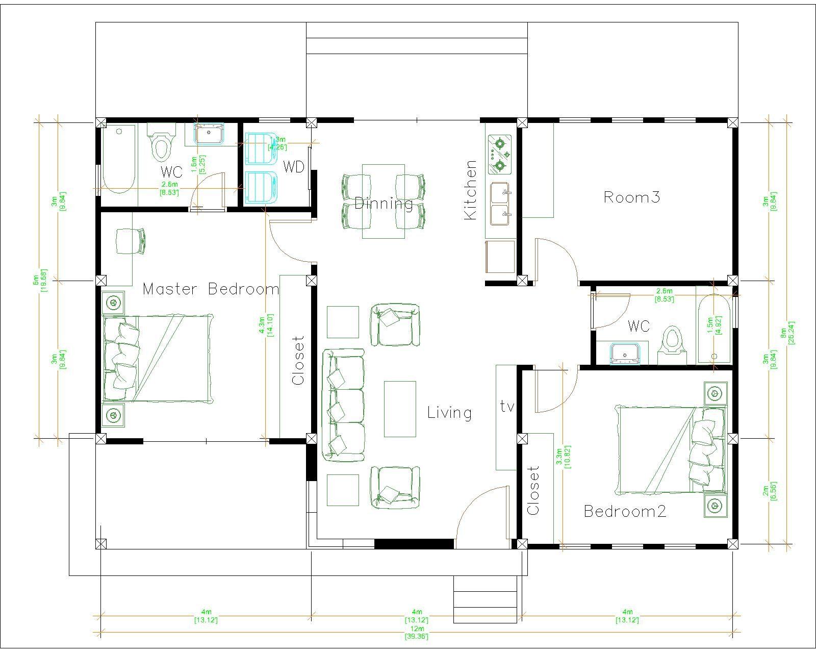 1 Story Modern House 12x12 Meters 40x40 Feet 3 Beds Layout floor plan