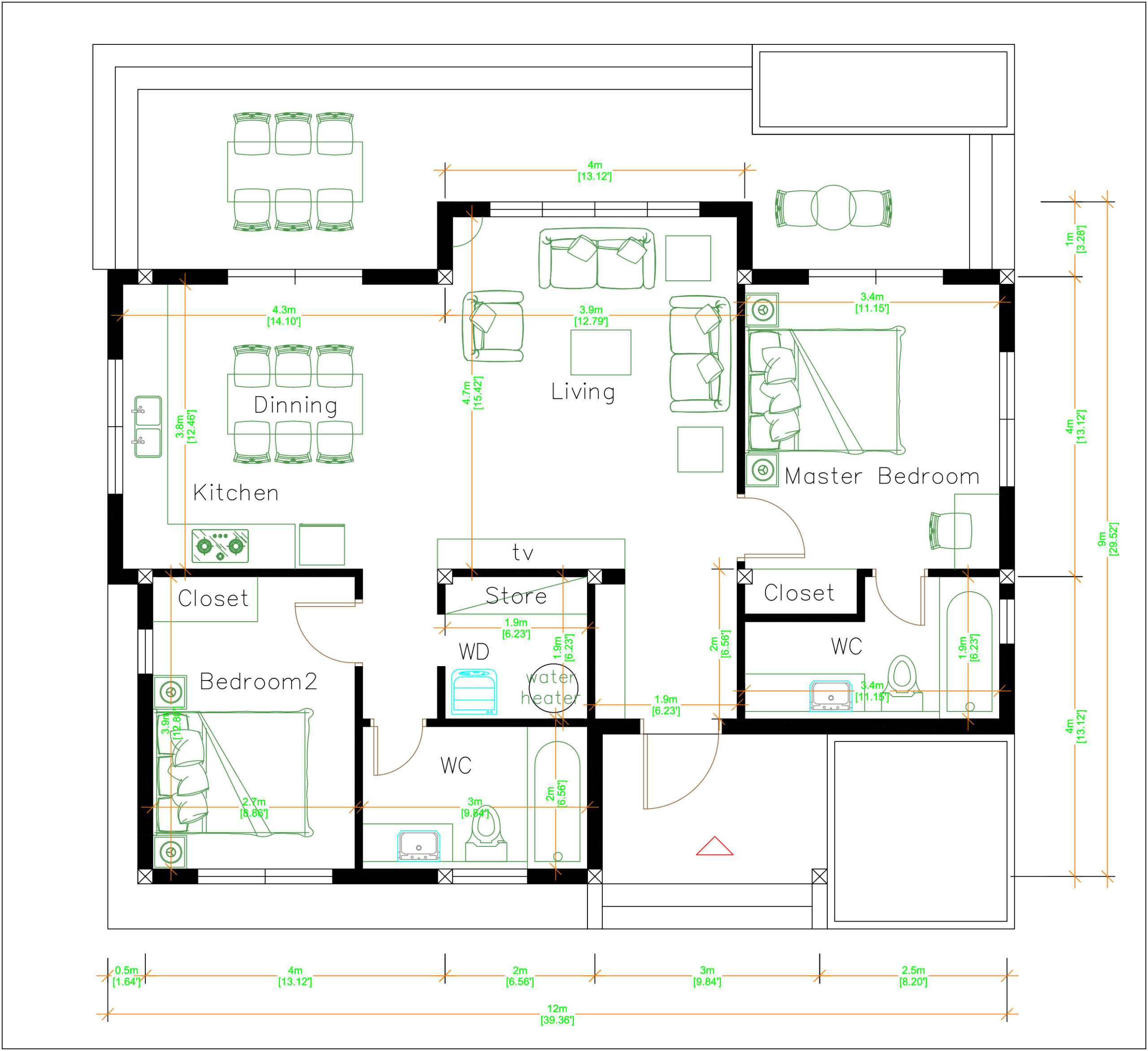 One Storey Building 12x9 Meter 40x30 Feet 2 Beds floor plan