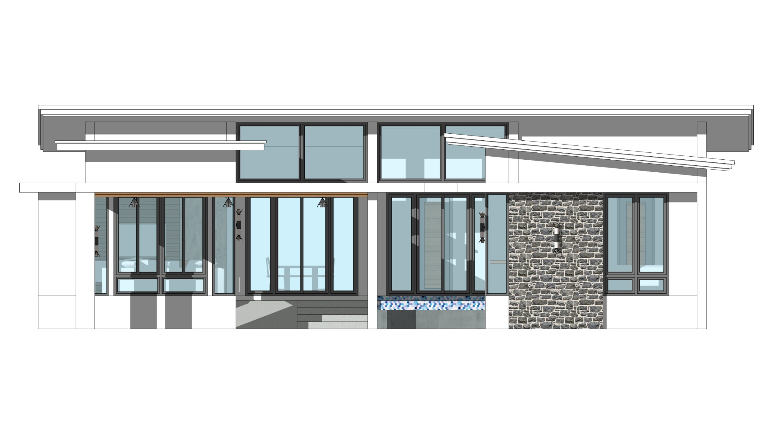 House Design with Pool 14x14 Meter 46x46 Feet 3 Beds Master room