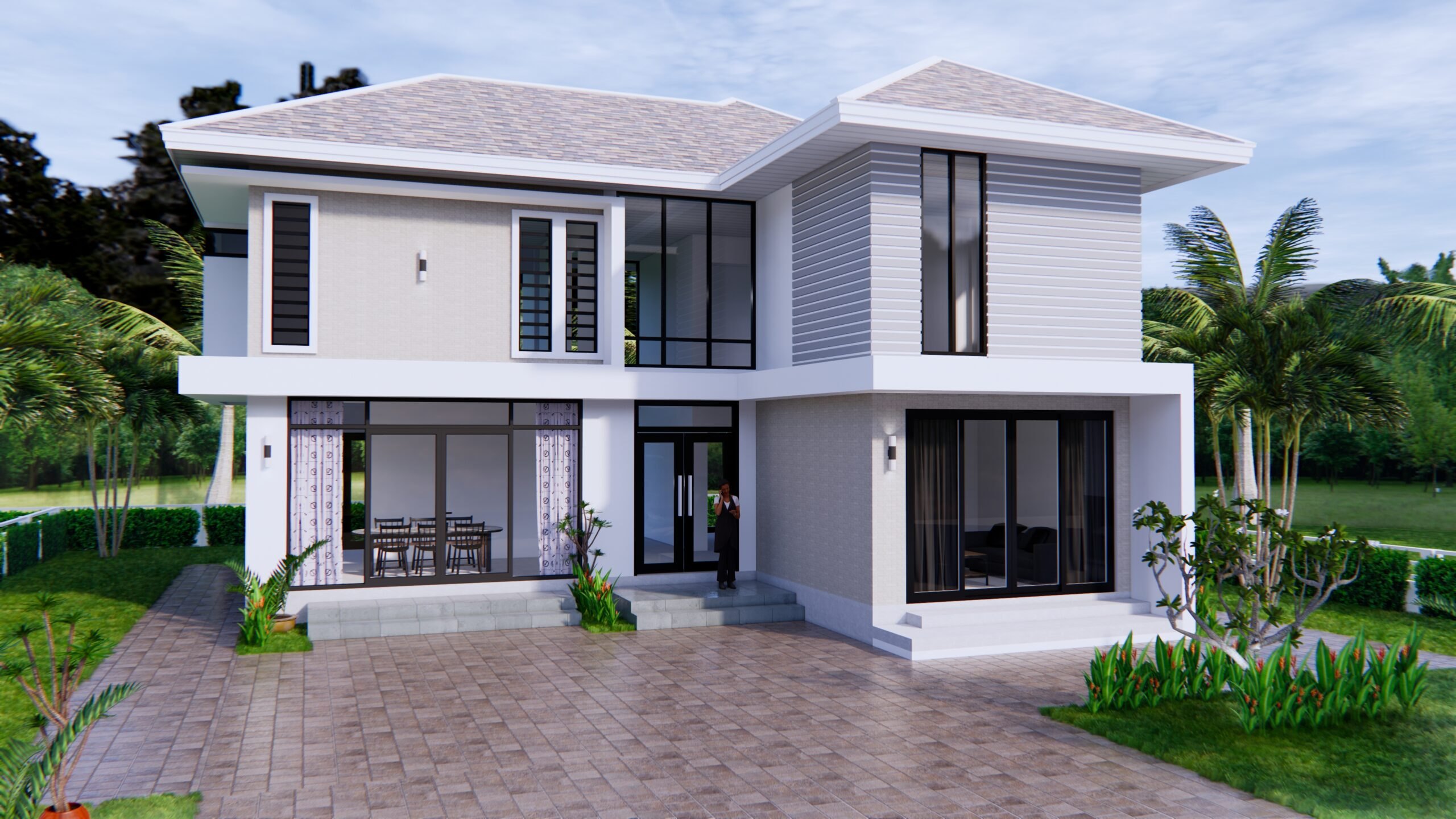 Home Designs 12.4x11 Meter 41x35 Feet 4 Beds 1