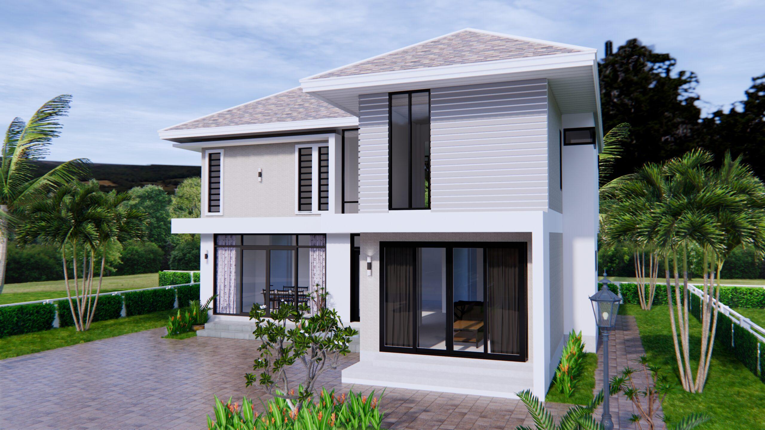 Home Designs 12.4x11 Meter 41x35 Feet 4 Beds 3