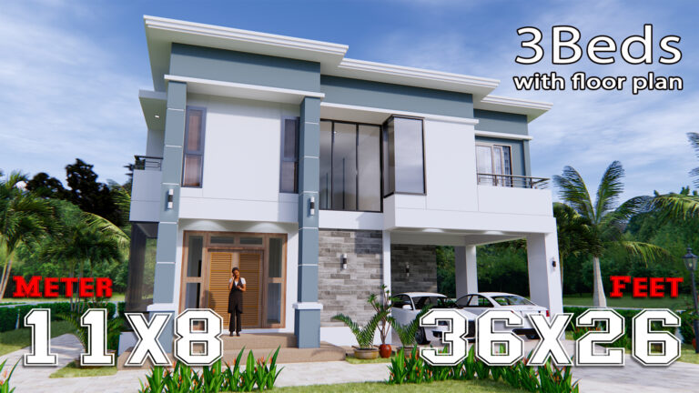 Home Plans 11x8 Meter 36x26 Feet 3 Beds