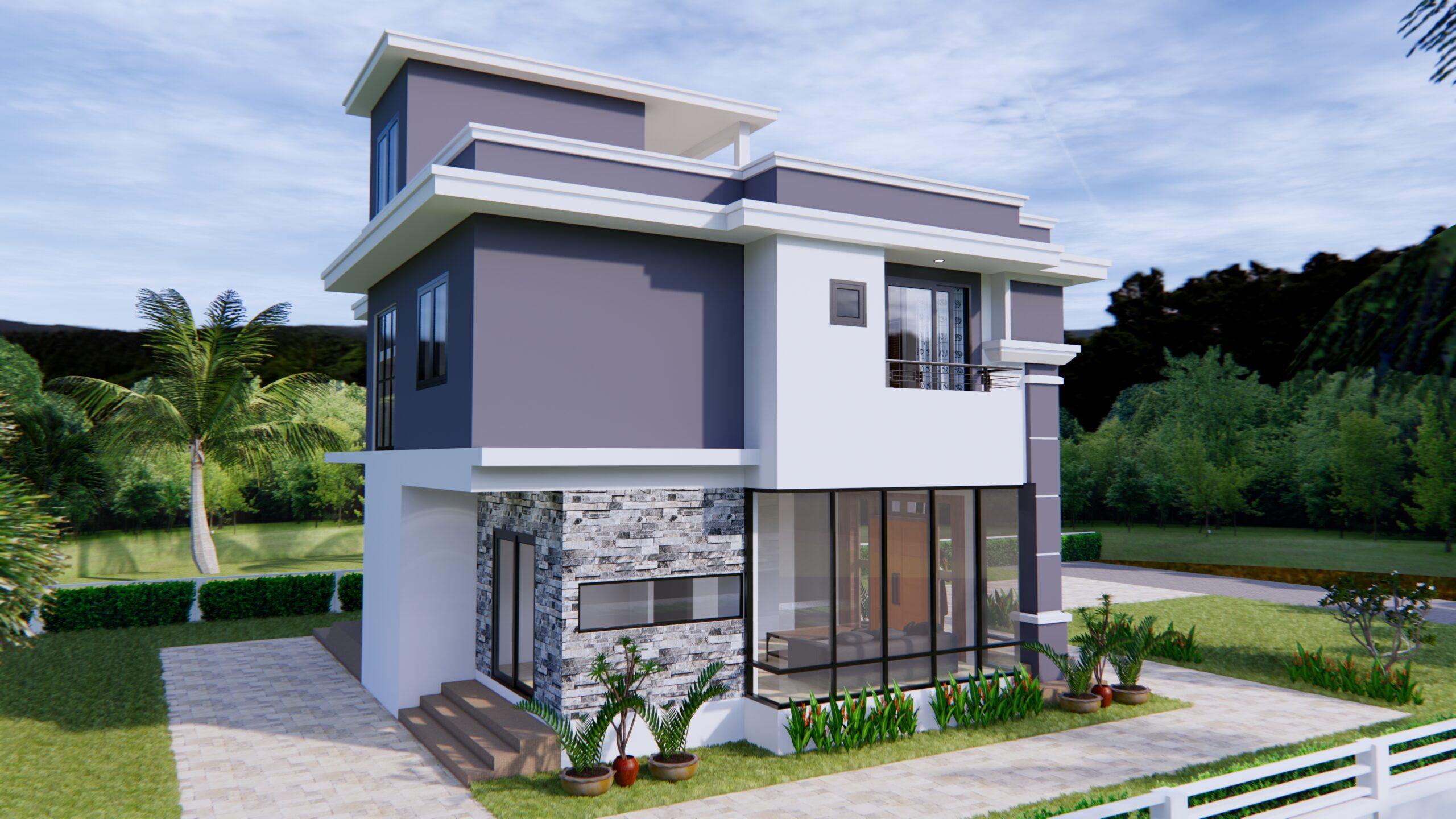 House Design 11x8 Meter 36x26 Feet 3 Beds 4