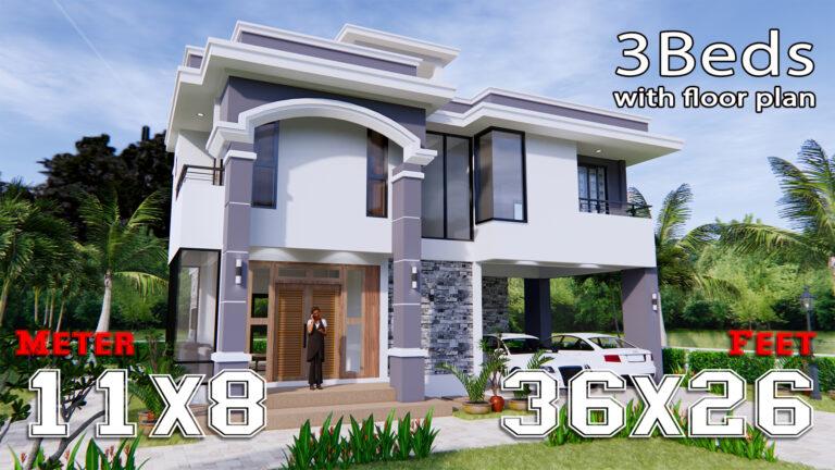 House Design 11x8 Meter 36x26 Feet 3 Beds