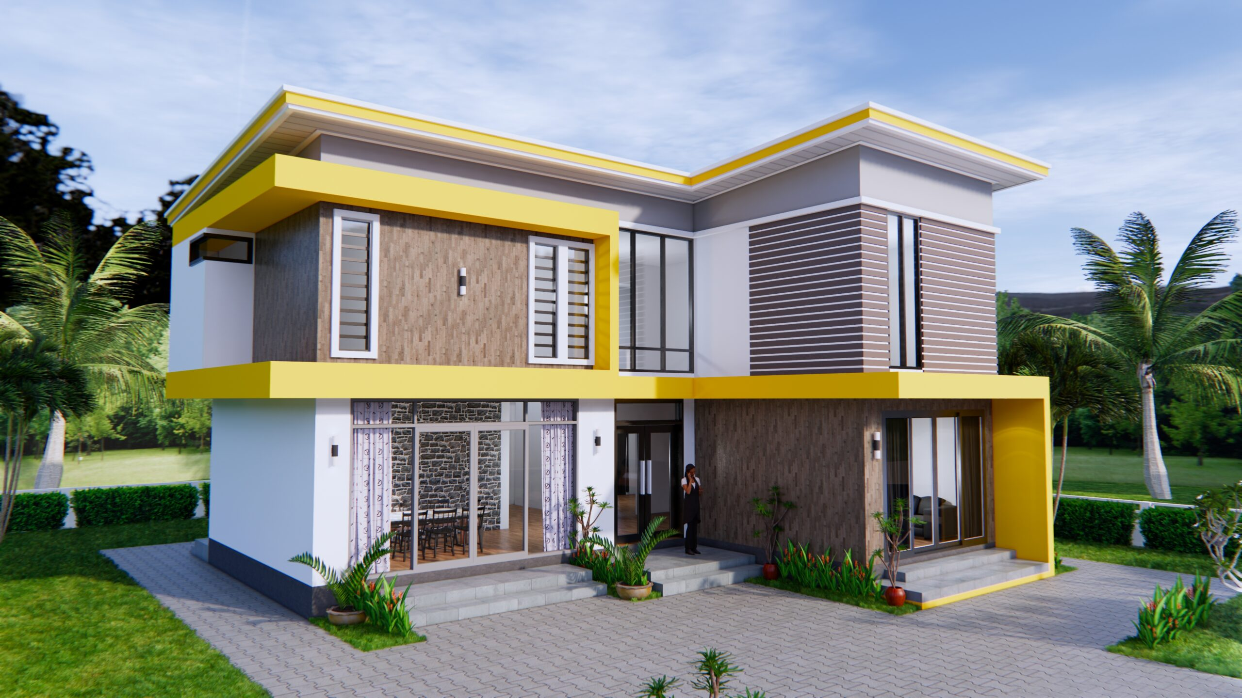 House Design 12.4x11 Meter 41x35 Feet 4 Beds 1-1