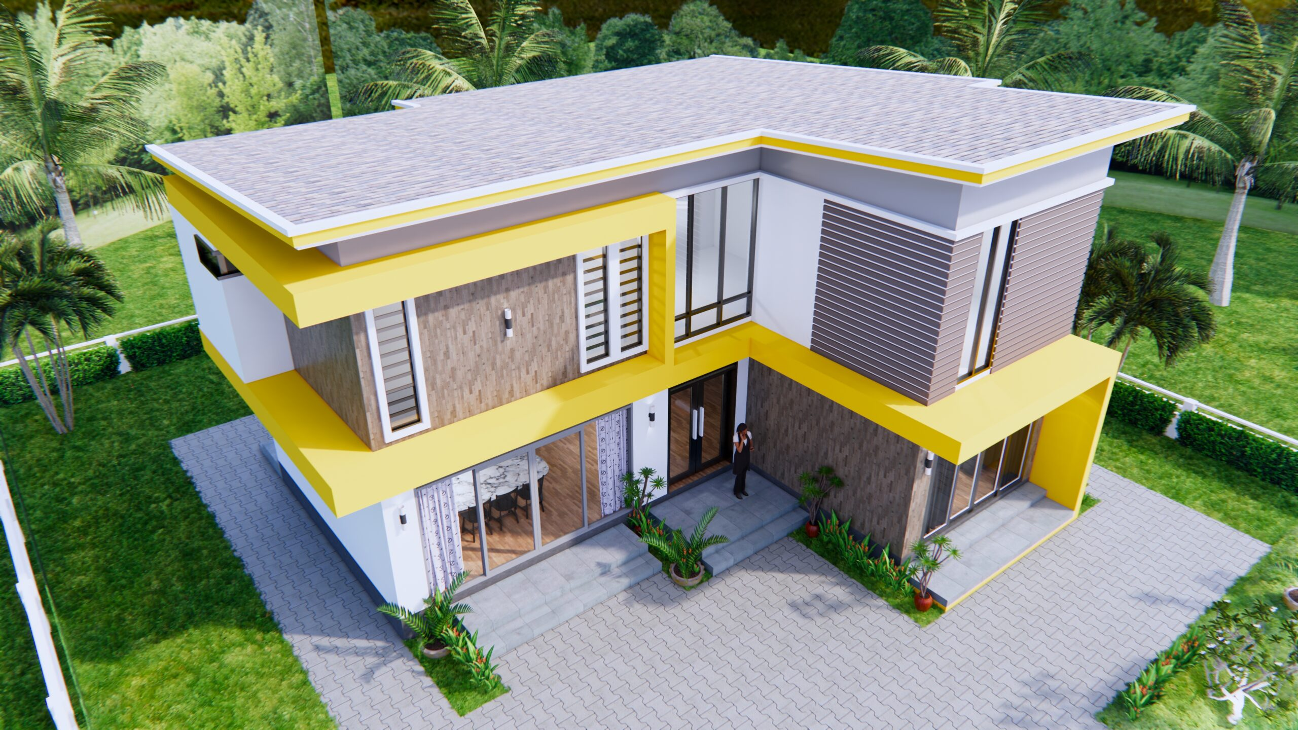 House Design 12.4x11 Meter 41x35 Feet 4 Beds 3