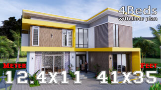 House Design 12.4x11 Meter 41x35 Feet 4 Beds